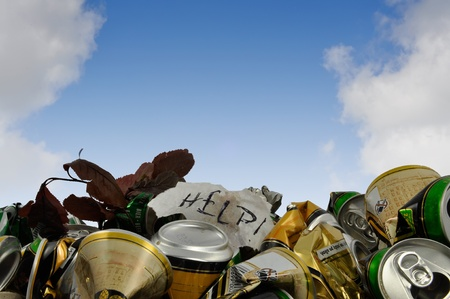 scrap gold: polluted environment, the planet is calling for help Stock Photo