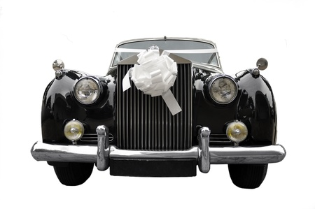 wedding limousine, old car isolated