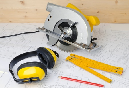power tools: carpenter tools and construction plans