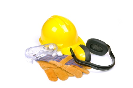 ear muffs: hard hat, goggles, gloves and ear muffs isolated on white, protective equipment Stock Photo