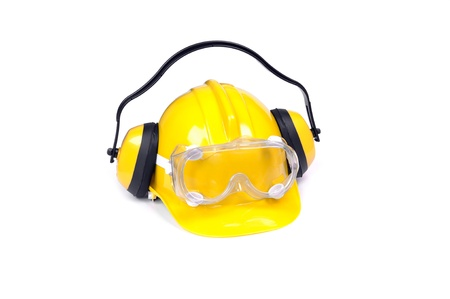 ear muffs: hard hat, goggles and ear muffs isolated on white, protective equipment