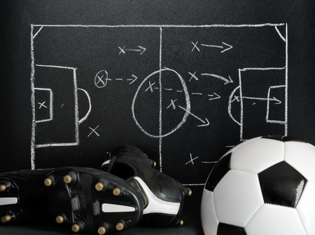 soccer boots: soccer, football strategy on a chalkboard with ball and soccer boots