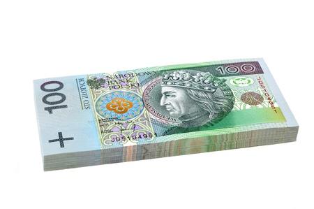 Pack of Polish Zloty bills on isolated white background