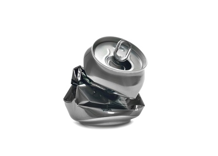 crashed: Crashed beer can on white background