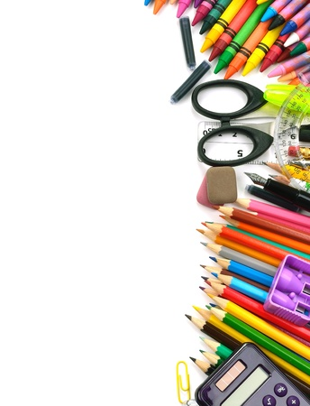 craft supplies: School and office supplies frame, on white background, back to school Stock Photo