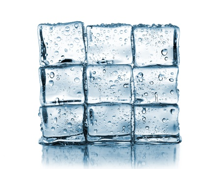 wall made of ice cubes on white Stock Photo