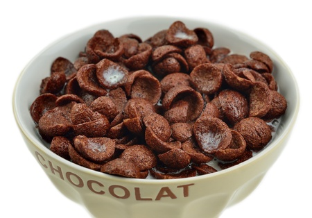 Bowl with chocolate cornflakes and milk Stock Photo - 16117520