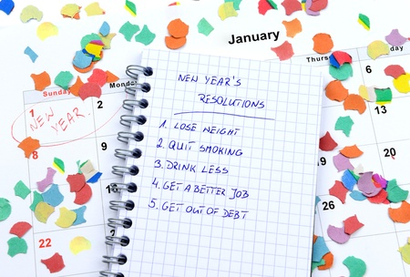 New Years resolutions listed in circle notepad