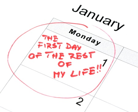 New Years resolution for a new life life marked on the calendar