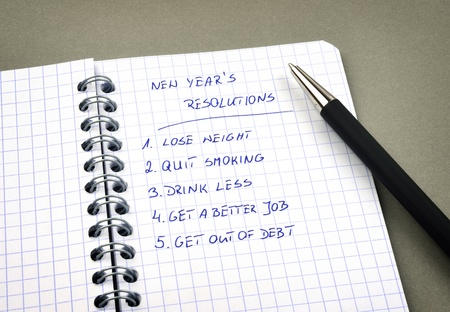 New Year's resolutions listed in notepad photo