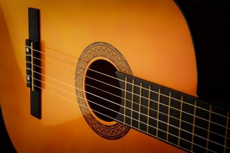 Detail of classic guitar, closeup photo