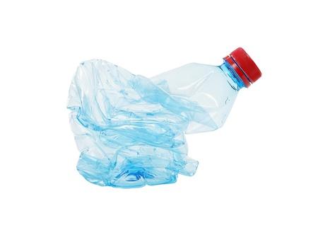 Plastic bottle waste isolated on white photo