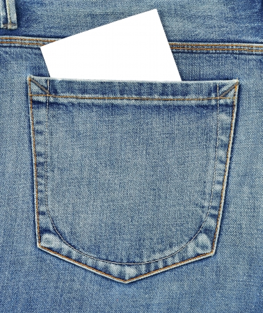 cloth back: Back pocket of jeans with empty card Stock Photo