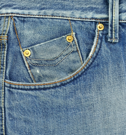 Small blue jeans pocket closeup photo