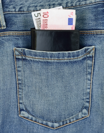 carelessness: Back pocket of jeans and wallet with euro banknotes Stock Photo
