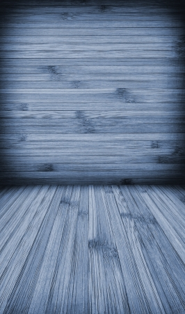 vertica: Wooden wall and floor background with vertica and horizontal lines in cyan