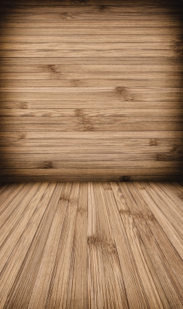 Wooden wall and floor background with vertica and horizontal lines photo