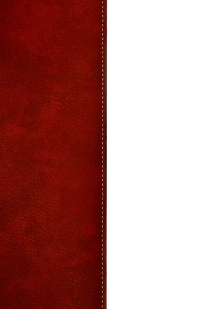 red stitches: Close up of a leather cover of the book