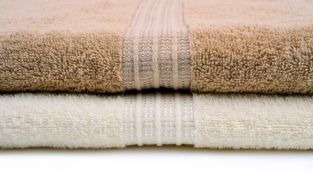 absorb: Bath towels with pattern closeup Stock Photo