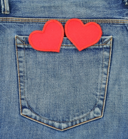 Back pocket of jeans with valentines day hearts photo