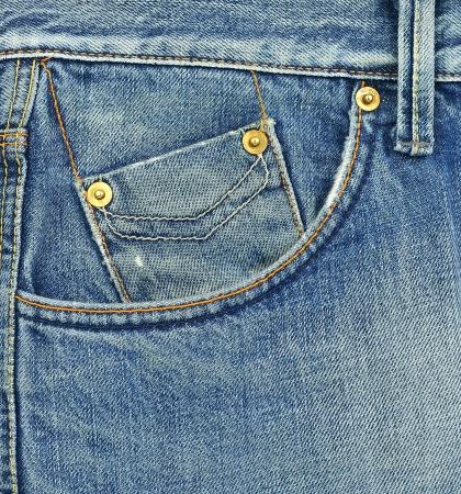 Small blue jeans pocket closeup photo