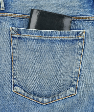 cloth back: Back pocket of jeans with black leather wallet Stock Photo