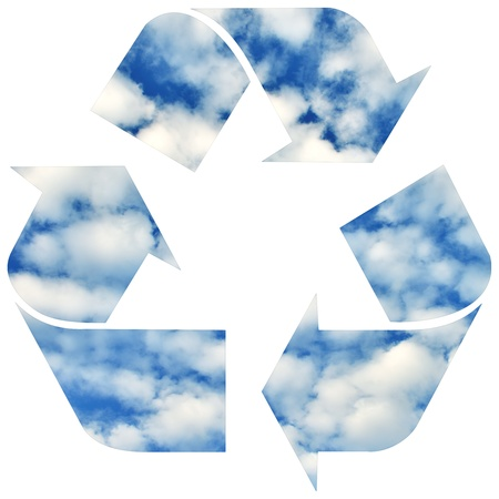 Recycle symbol with sky and clouds isolated on white background photo