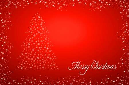 red x: Red background with christmas tree