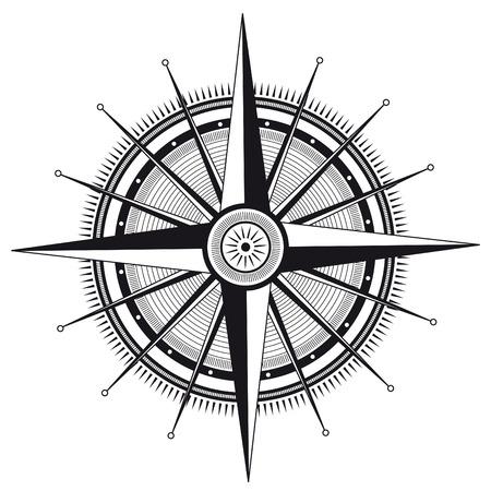 norte: Ilustración del vector de rosa de los vientos en color blanco y negro Vectores