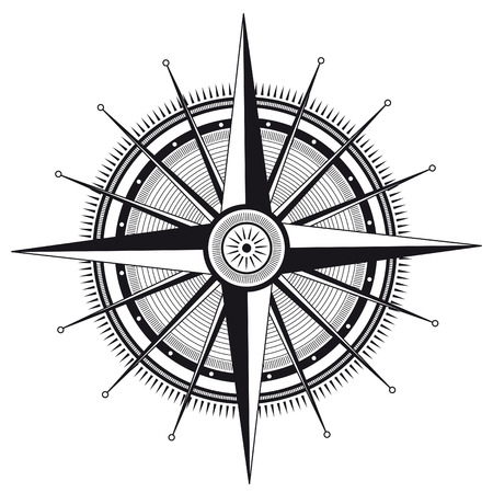 Vector illustration of wind rose in black and white color  Ilustracja