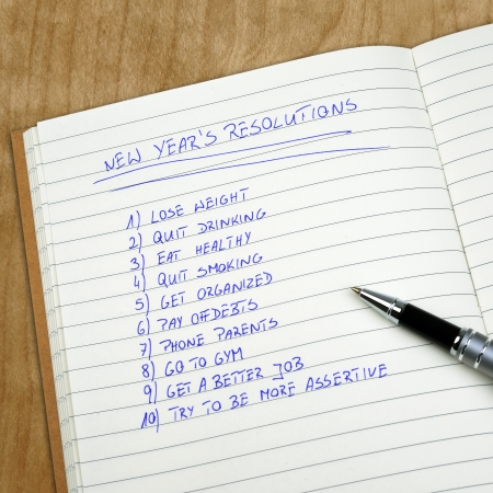 New Years resolutions listed in the notepad