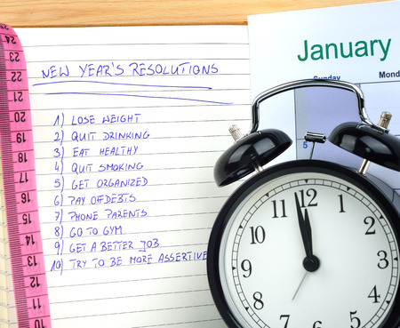 New Years resolutions with alarm clock and measure
