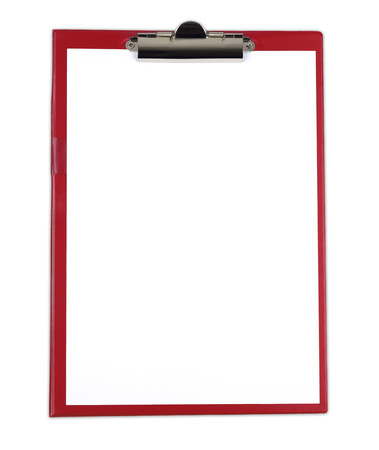 Clipboard with blank white paper isolated on white background.