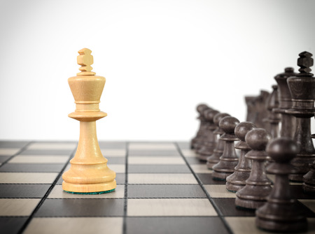way of thinking: Chess king staying before the set of another colour pieces