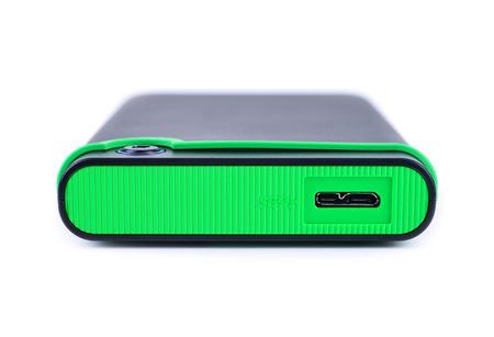 gigabytes: External Hard drive closeup, isolated Stock Photo