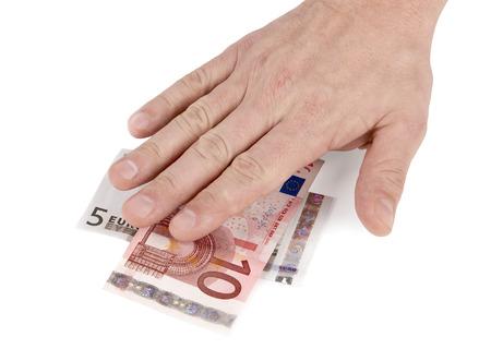 grabbing hand: Put hands on the money. Cash grab.