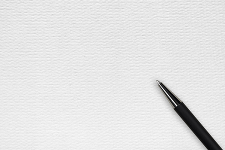 ball pen: White papper background with black ball pen and text space