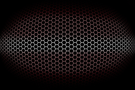 octogonal: fondo rojo con rejilla cilíndrica octogonal. Ilustración.