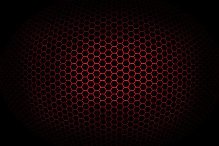 Achtergrond met rode bolvormige achthoekige raster. Illustratie.