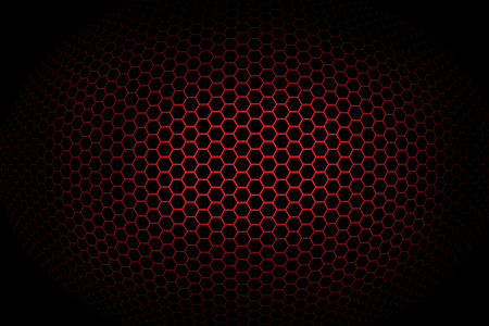 spherical: Background with red spherical octagonal grid. Illustration.