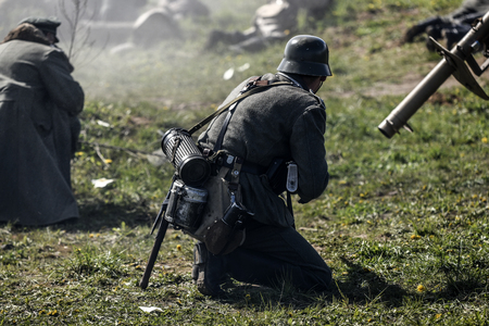 German soldiers. Historical reconstruction, soldiers fighting during World War II Stock Photo