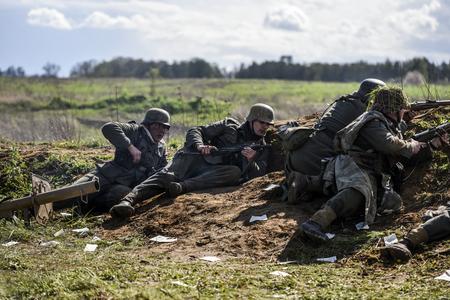 Rosowek, Poland, april 23, 2017: Historical reconstruction battle for Stettin in 1945, Red army against Wehrmacht in Rosowek. Editorial