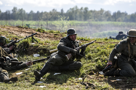 seconda guerra mondiale: Rosowek, Poland, april 23, 2017: Historical reconstruction battle for Stettin in 1945, Red army against Wehrmacht in Rosowek. Editoriali