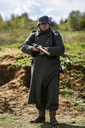 Rosowek, Poland, april 23, 2017: Historical reconstruction battle for Stettin in 1945, Red army against Wehrmacht in Rosowek. Editorial