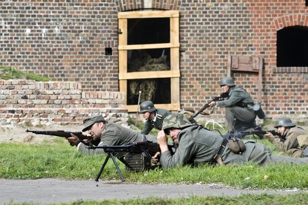 wehrmacht: Swinoujscie, Poland, September 15, 2012: Historical reconstruction of the Battle of the Second World War
