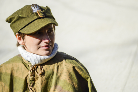Szczecin, Poland, March 3, 2013: Polish soldier during historical reconstruction.