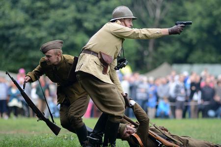 Szczecin, Poland, September 1, 2013: Historical reconstruction beginning world war II in Poland. Editorial