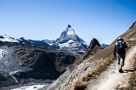 thru: View od Matterhorn peak with tourist walkind thru trail.