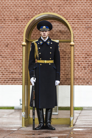 military watch: Moscow, Russia, September 29, 2016: Russian guardian by the monument of unknown soldier in Moscow, Russia.