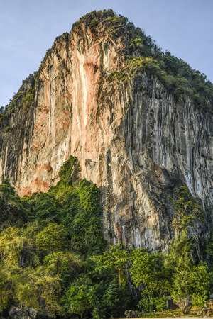 Limestone cliff on a Railey beach, Krabi in Thailand.